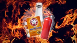 If you don't have a fire extinguisher on hand, salt and baking soda can be good alternatives